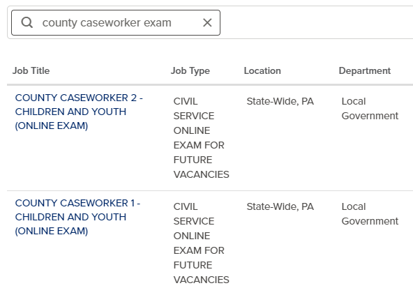 County caseworker exam search results.