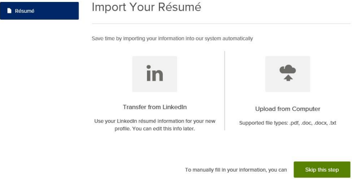 Click on the 'Upload from Computer' icon to upload your resume.